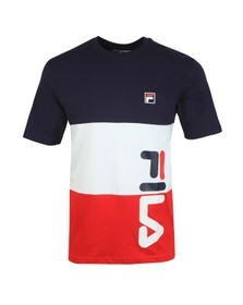 Fila Mens Blue Cut & Sew Stripe Graphic T-Shirt