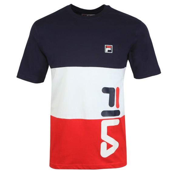 Fila Mens Blue Cut & Sew Stripe Graphic T-Shirt
