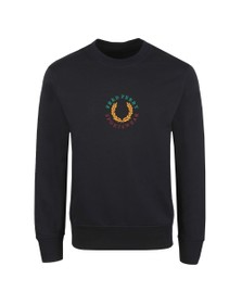 Fred Perry Sportswear Mens Blue Embroidered Sweatshirt