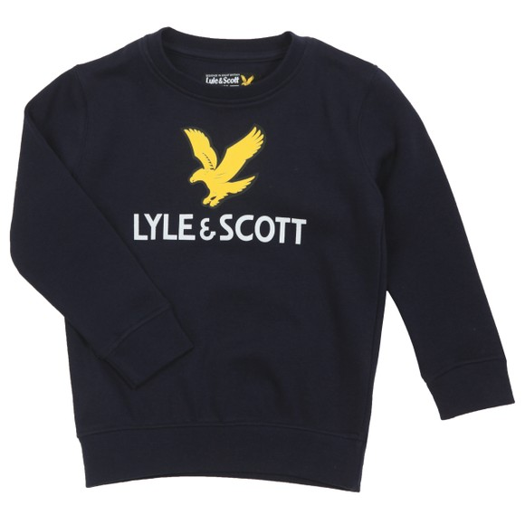 Lyle And Scott Junior Boys Blue Eagle Logo LB Crew Sweatshirt