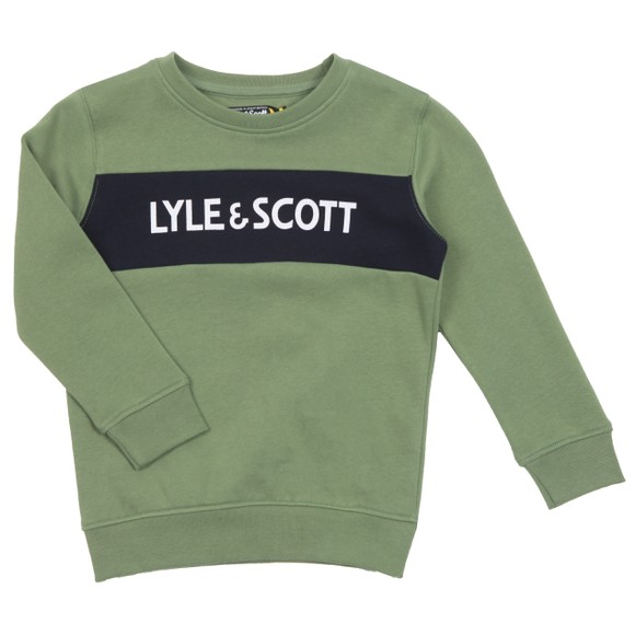 Lyle And Scott Junior Boys Green Panel BB Crew Sweatshirt