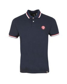 Pretty Green Mens Blue Likeminded Chest Badge Polo Shirt