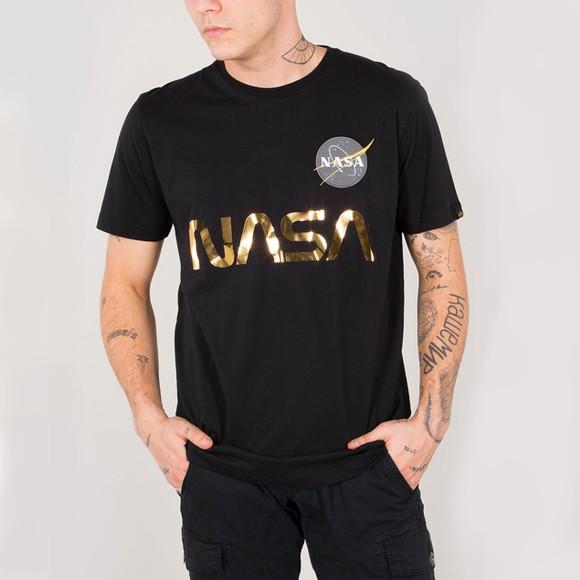 Alpha Industries Mens Black NASA Reflective T-Shirt