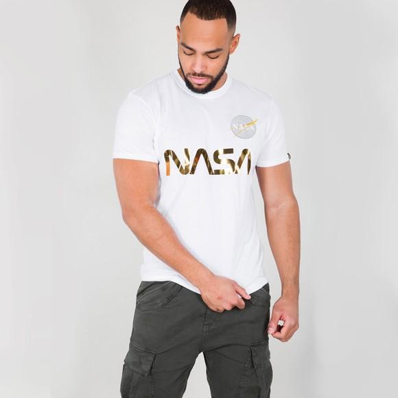 Alpha Industries Mens White NASA Reflective T-Shirt