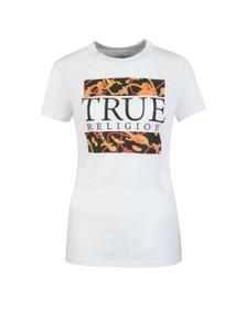 True Religion Womens White Crystal Chain Crew T-Shirt