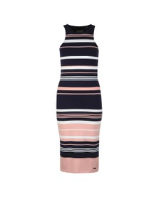 Superdry Womens Pink Verigated Stripe Midi Dress