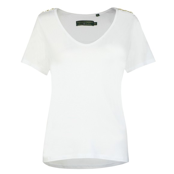 Holland Cooper Womens White Relax Fit V Neck T Shirt
