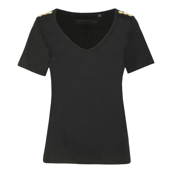 Holland Cooper Womens Black Relax Fit V Neck T Shirt