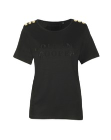 Holland Cooper Womens Black Essential Crystal Crew Neck T Shirt