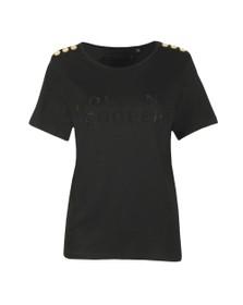 Holland Cooper Womens Black Essential Crystal Crew Neck T Shirt