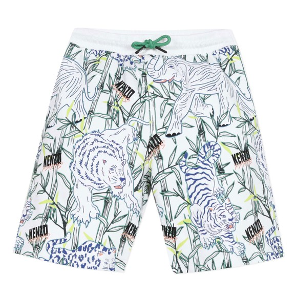 Kenzo Kids Boys White Jasper Disco Jungle Jersey Short