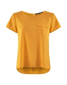 French Connection Womens Yellow Abena Light Round Neck Top
