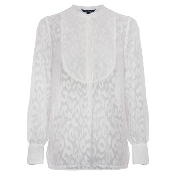 French Connection Womens White Asante Coupe De Fil Blouse