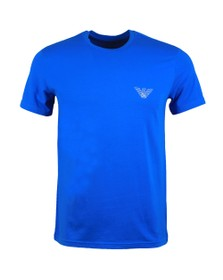 Emporio Armani Mens Blue Outline Logo Stretch T Shirt