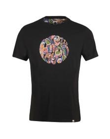 Pretty Green Mens Black Paisley Print Logo T-Shirt