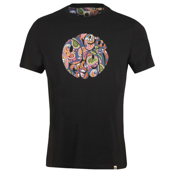 Pretty Green Mens Black Paisley Print Logo T-Shirt main image