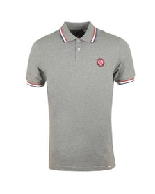 Pretty Green Mens Grey Likeminded Chest Badge Polo Shirt