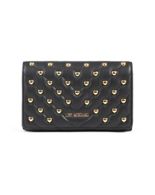 Love Moschino Womens Black Borsa All-over Heart Logo Bag
