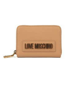 Love Moschino Womens Beige Box Plated Metallic Logo Purse