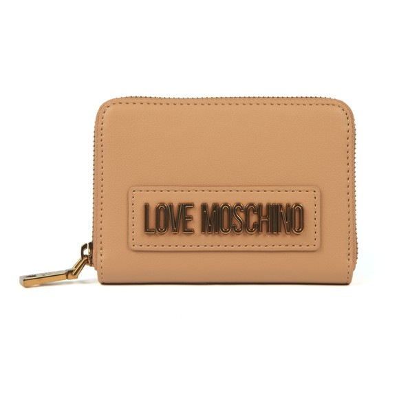 Love Moschino Womens Beige Box Plated Metallic Logo Purse