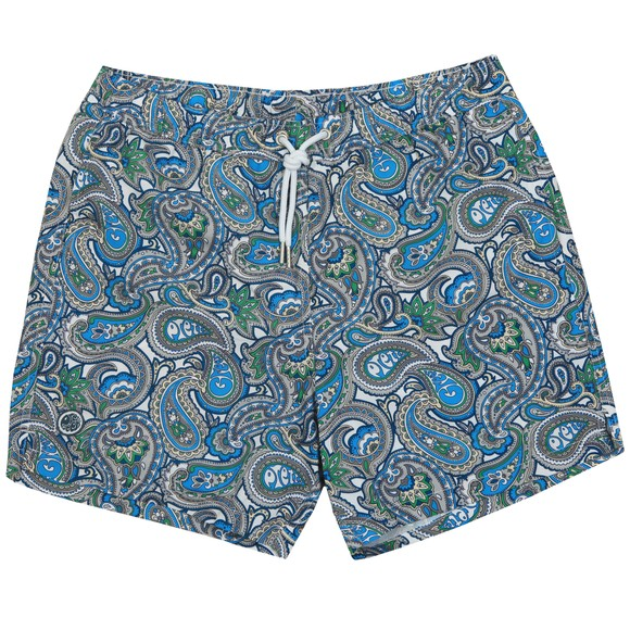 Pretty Green Mens Green Paisley Swim Short