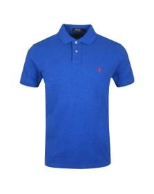 Polo Ralph Lauren Mens Dockside Blue Heather Custom Slim Fit Short Sleeve Polo Shirt