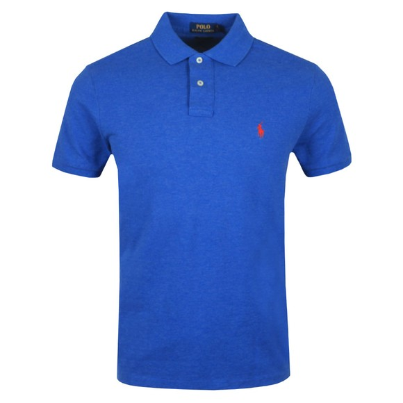 Polo Ralph Lauren Mens Dockside Blue Heather Custom Slim Fit Short Sleeve Polo Shirt