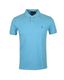 Polo Ralph Lauren Mens Watchhill Blue Heather Custom Slim Fit Short Sleeve Polo Shirt