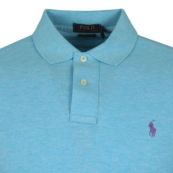 Polo Ralph Lauren Mens Watchhill Blue Heather Custom Slim Fit Short Sleeve Polo Shirt