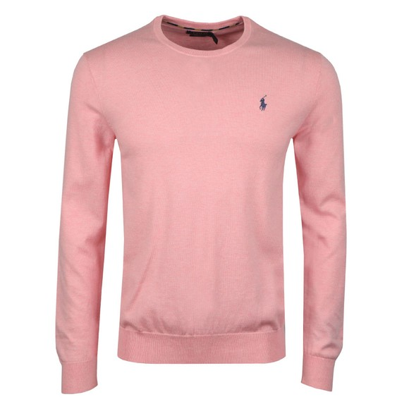 Polo Ralph Lauren Mens Pink Crew Neck Cotton Knitted Jumper