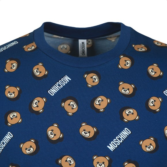 Moschino Mens Blue Underbear Allover T Shirt