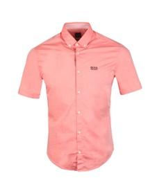 BOSS Mens Pink Athleisure Biadia Short Sleeve Shirt