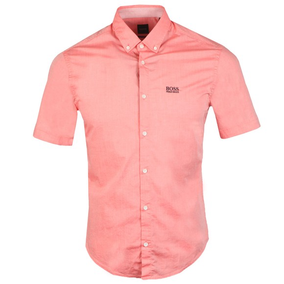BOSS Mens Pink Athleisure Biadia Short Sleeve Shirt