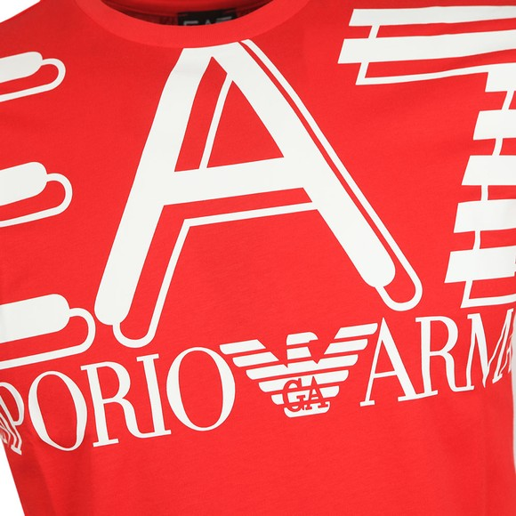 EA7 Emporio Armani Mens Red Big Logo T-Shirt