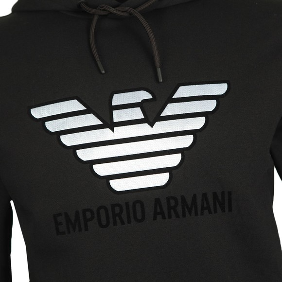 Emporio Armani Mens Black Metallic Eagle Overhead Hoody