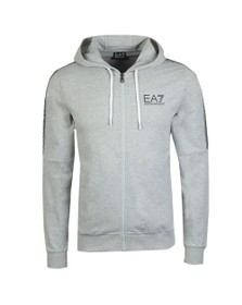EA7 Emporio Armani Mens Grey Full Zip Hooded Sweatshirt