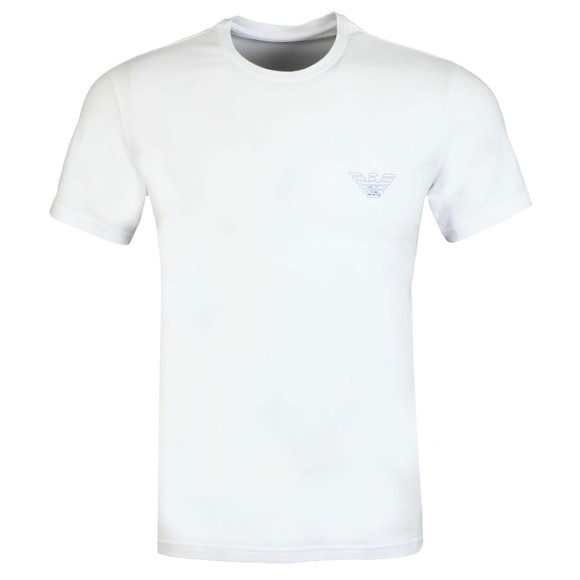 Emporio Armani Mens White Outline Logo Stretch T Shirt