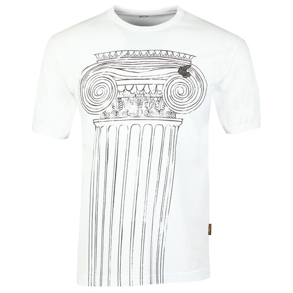 Vivienne Westwood Anglomania Mens White Classic T-Shirt Pillar Print T-Shirt