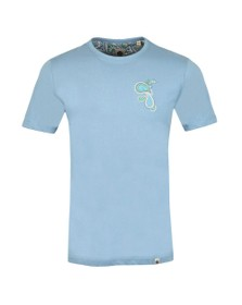 Pretty Green Mens Blue Paisley Chest Embroidery T-Shirt