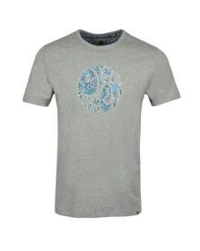Pretty Green Mens Grey Paisley Applique T-Shirt