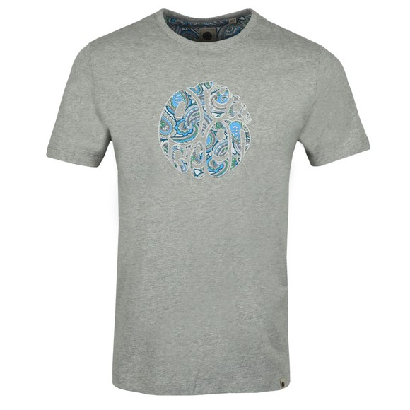 Pretty Green Mens Grey Paisley Applique T-Shirt