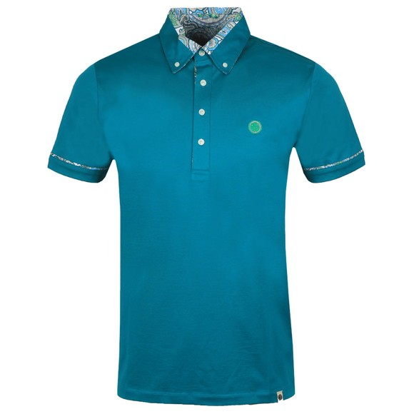 Pretty Green Mens Green Paisley Print Collar Polo Shirt main image
