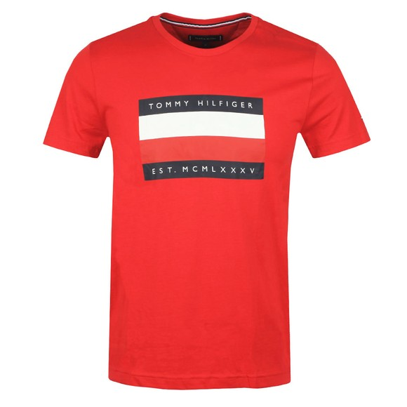 Tommy Hilfiger Mens Red Corp Stripe Box T-Shirt main image