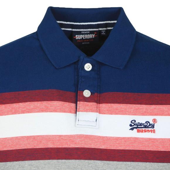 Superdry Mens Blue Malibu Stripe Polo Shirt main image