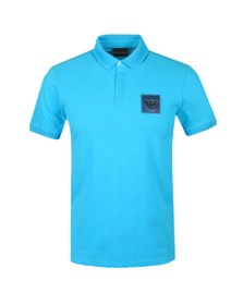 Emporio Armani Mens Blue Reflective Box Logo Polo Shirt