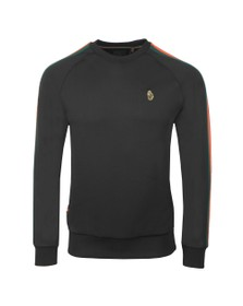 Luke Sport Mens Black Daley Vintage Tape Sweatshirt