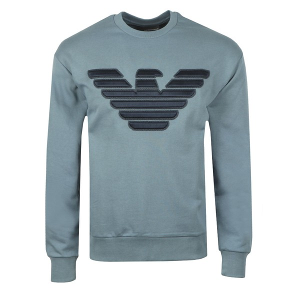 Emporio Armani Mens Blue Large Stitch Embossed Logo Sweatshirt