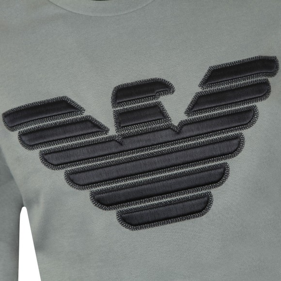 Emporio Armani Mens Blue Large Stitch Embossed Logo Sweatshirt