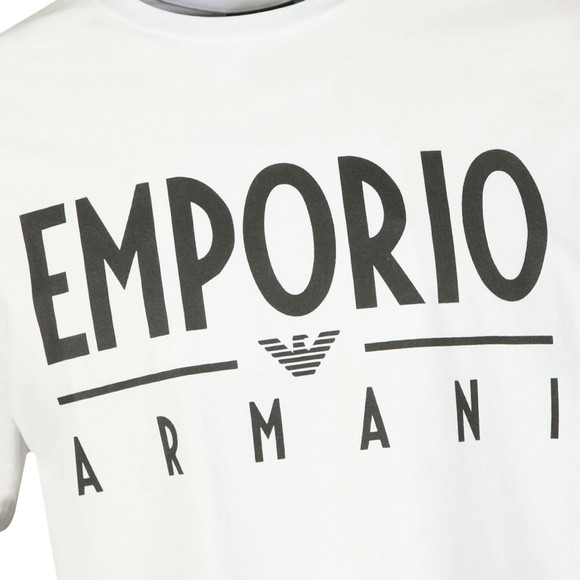 Emporio Armani Mens White Bold Emporio Logo T Shirt
