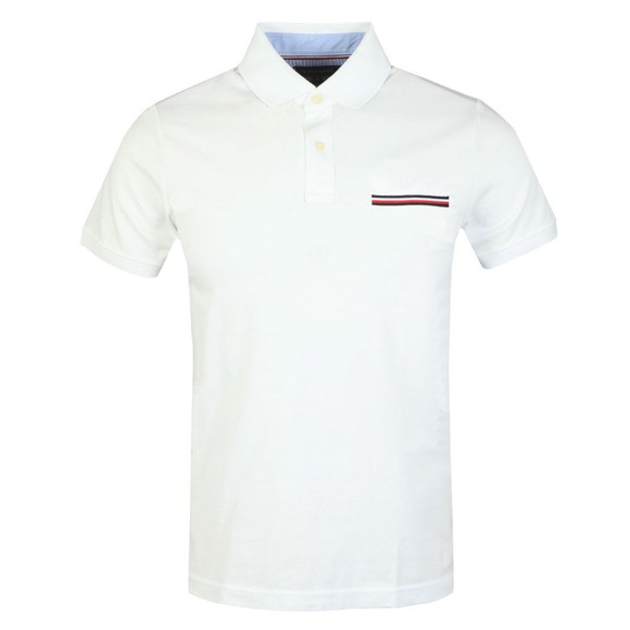 Tommy Hilfiger Mens White Pocket Detail Slim Polo